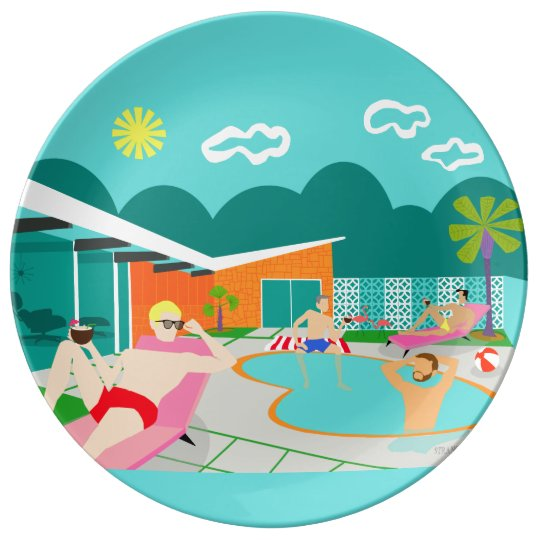 Retro Gay Pool Party Porcelain Plate
