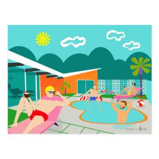 Retro Gay Pool Party Postcard