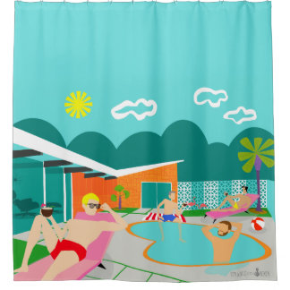 Retro Gay Pool Party Shower Curtain
