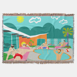 Retro Gay Pool Party Throw Blanket