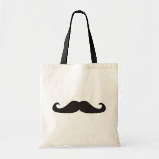 Retro gentelman mustaches illustration budget tote bag