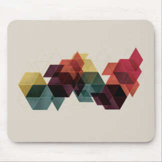 Retro Geometric Cube Background Mouse Pad