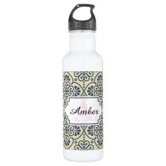 Retro geometric floral ornamental pattern 710 ml water bottle