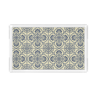 Retro geometric floral ornamental pattern acrylic tray