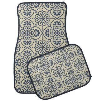 Retro geometric floral ornamental pattern car mat