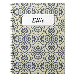 Retro geometric floral ornamental pattern notebooks