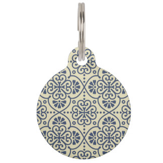 Retro geometric floral ornamental pattern pet ID tag