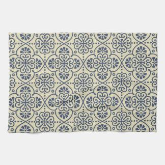 Retro geometric floral ornamental pattern tea towel