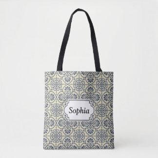 Retro geometric floral ornamental pattern tote bag