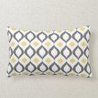 Retro Geometric Ikat Yellow Grey Pattern Lumbar Cushion