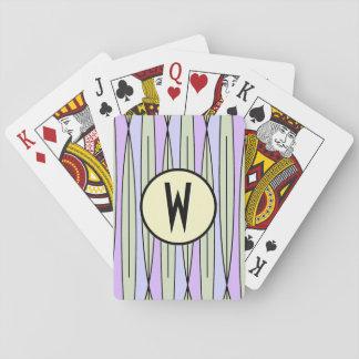 Retro Geometric Pale Green & Lavender -Monogrammed Poker Cards