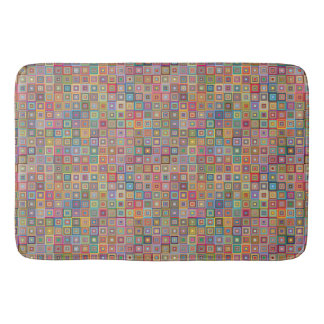 Retro Geometric Tile Pattern Bath Mats