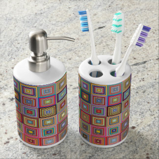 Retro Geometric Tile Pattern Bathroom Set