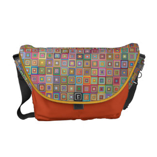 Retro Geometric Tile Pattern Commuter Bag