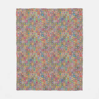 Retro Geometric Tile Pattern Fleece Blanket