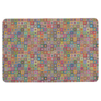Retro Geometric Tile Pattern Floor Mat