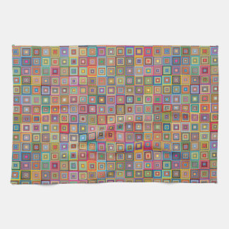 Retro Geometric Tile Pattern Kitchen Towel