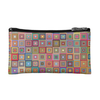 Retro Geometric Tile Pattern Makeup Bags