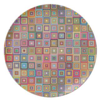 Retro Geometric Tile Pattern Plate