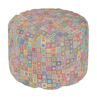 Retro Geometric Tile Pattern Pouf