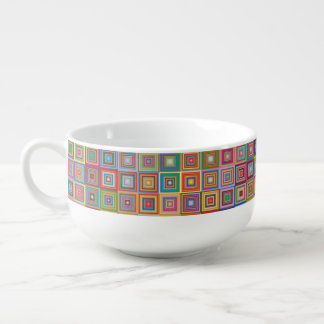 Retro Geometric Tile Pattern Soup Bowl With Handle