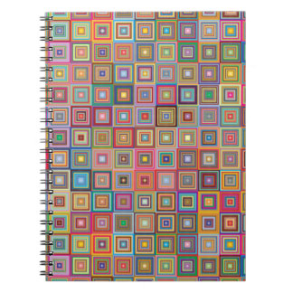 Retro Geometric Tile Pattern Spiral Notebooks