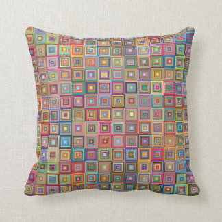 Retro Geometric Tile Pattern Throw Pillow