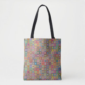 Retro Geometric Tile Pattern Tote Bag