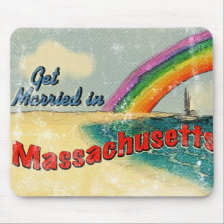 Retro Get Married in Massachusetts Mouse Pad