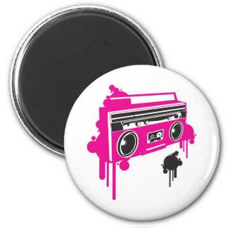 retro ghetto blaster stereo design 6 cm round magnet