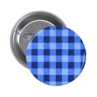 Retro Gingham Blue Pinback Buttons