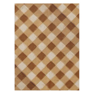 Retro Gingham Brown Tablecloth