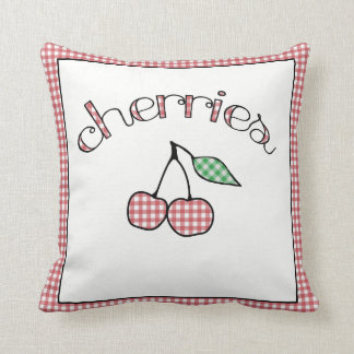 Retro Gingham Cherries Country Throw Pillow