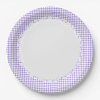 Retro-Gingham_Picnic_Blueberry_Check_Stylish_Decor Paper Plate
