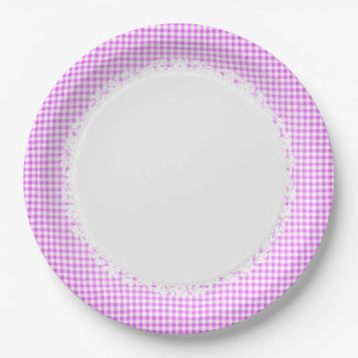 Retro-Gingham_Picnic_Pink-Check_Stylish-Vintage Paper Plate