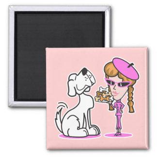 retro girl and pet dog square magnet