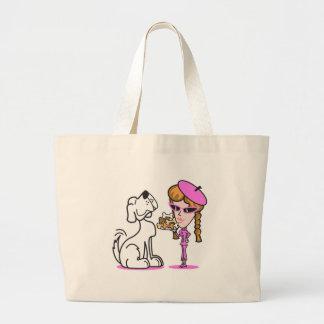 retro girl and pet dog jumbo tote bag