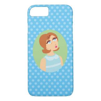 Retro Girl Blue iPhone 7 Case