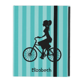 Retro Girl Cyclist Silhouette Cover For iPad