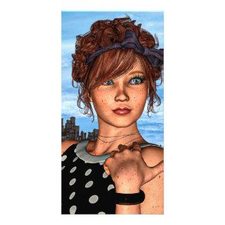 Retro Girl Photo Card