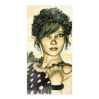 Retro Girl Photo Card Template
