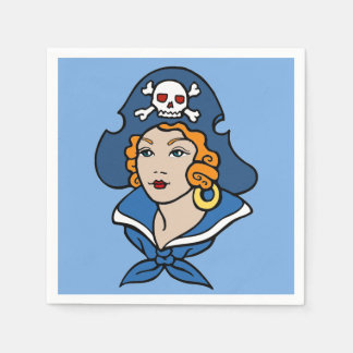 Retro Girl Pirate in Blue Disposable Serviettes