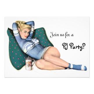Retro Girl s Night In Sleepover Slumber PJ Party Announcements