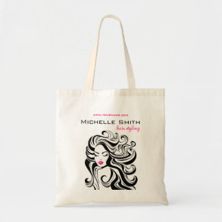 Retro girl with wavy hair Hairstyling branding Budget Tote Bag