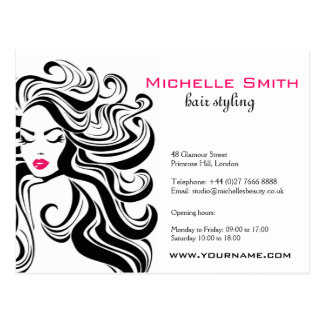 Retro girl with wavy hair Hairstyling branding Postcard