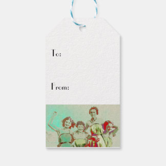 Retro Girls Day at Beach Gift Tags