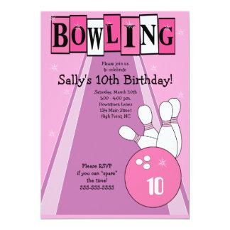 Retro Girly Pink Birthday Bowling Party Invite