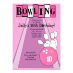 Retro Girly Pink Birthday Bowling Party Invite