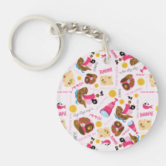 Retro Girly Pirates Double-Sided Round Acrylic Key Ring