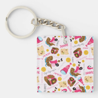 Retro Girly Pirates Single-Sided Square Acrylic Key Ring